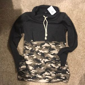Tops - Ampersand Avenue Camo Cowl-neck sweatshirt NWT